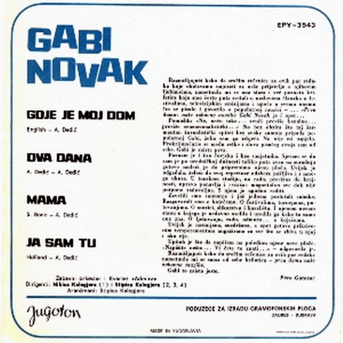 Gabi Novak 1968 Gdje je moj dom b